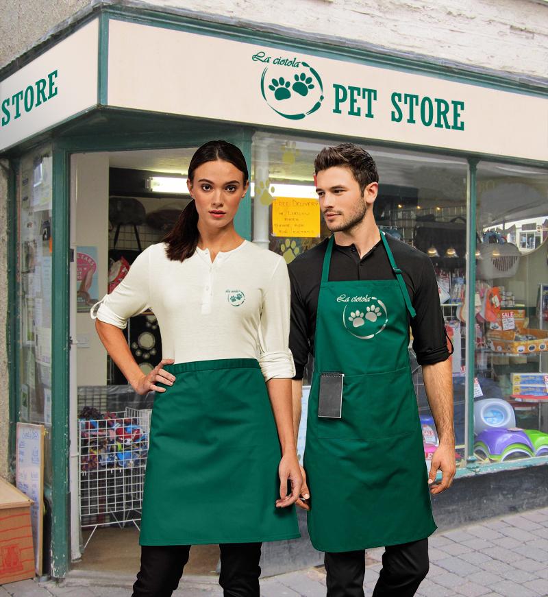 Divisa coordinata uomo e donna per Pet Store
